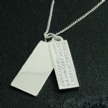 Silver & CZ Tag Pendant, personalised, ref. CZTP